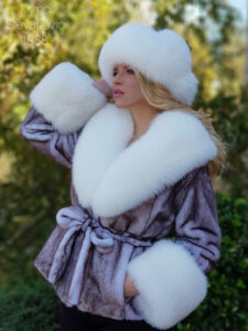 mink coat with fox collar