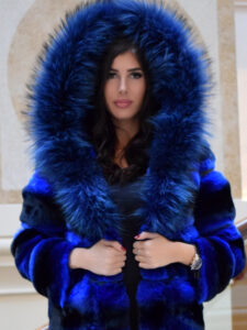 blue chinchilla fur coat