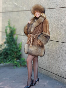 mink fur coat with raccoon
