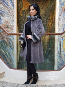 grey mink fur coat